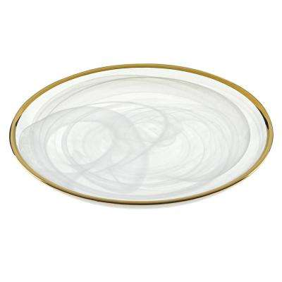 6.75 in. 4-Piece White Alabaster Glass with Gold Trim Plates Set