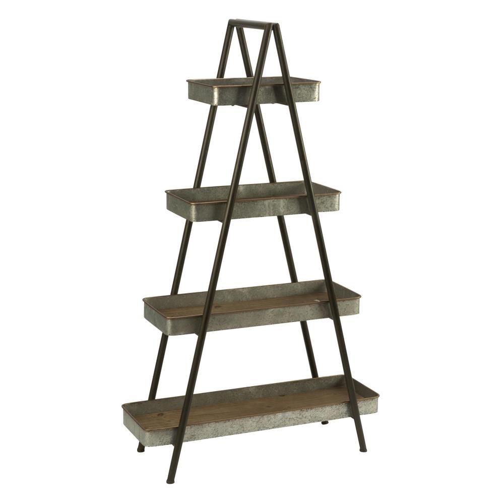 Black and Galvanized Metal Ladder Shelf Bookcase