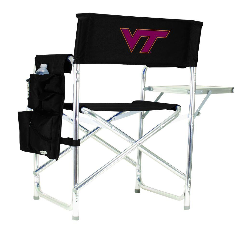 Picnic Time Virginia Tech Black Sports Chair with Embroidered Logo