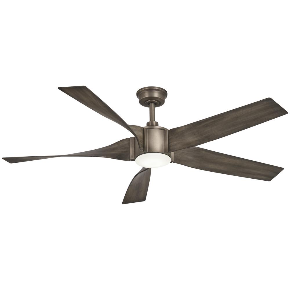 Aire a Minka Group Design Sky Parlor 56 in. Integrated LED Indoor Burnished Nickel Ceiling Fan with Light
