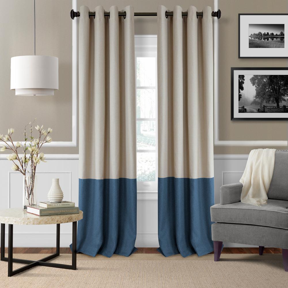 Braiden 52 in. W x 95 in. L Blackout Grommet Single Curtain Panel in Navy
