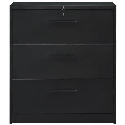 Black Lockable Heavy Duty Lateral File Cabinet with 3 Drawers