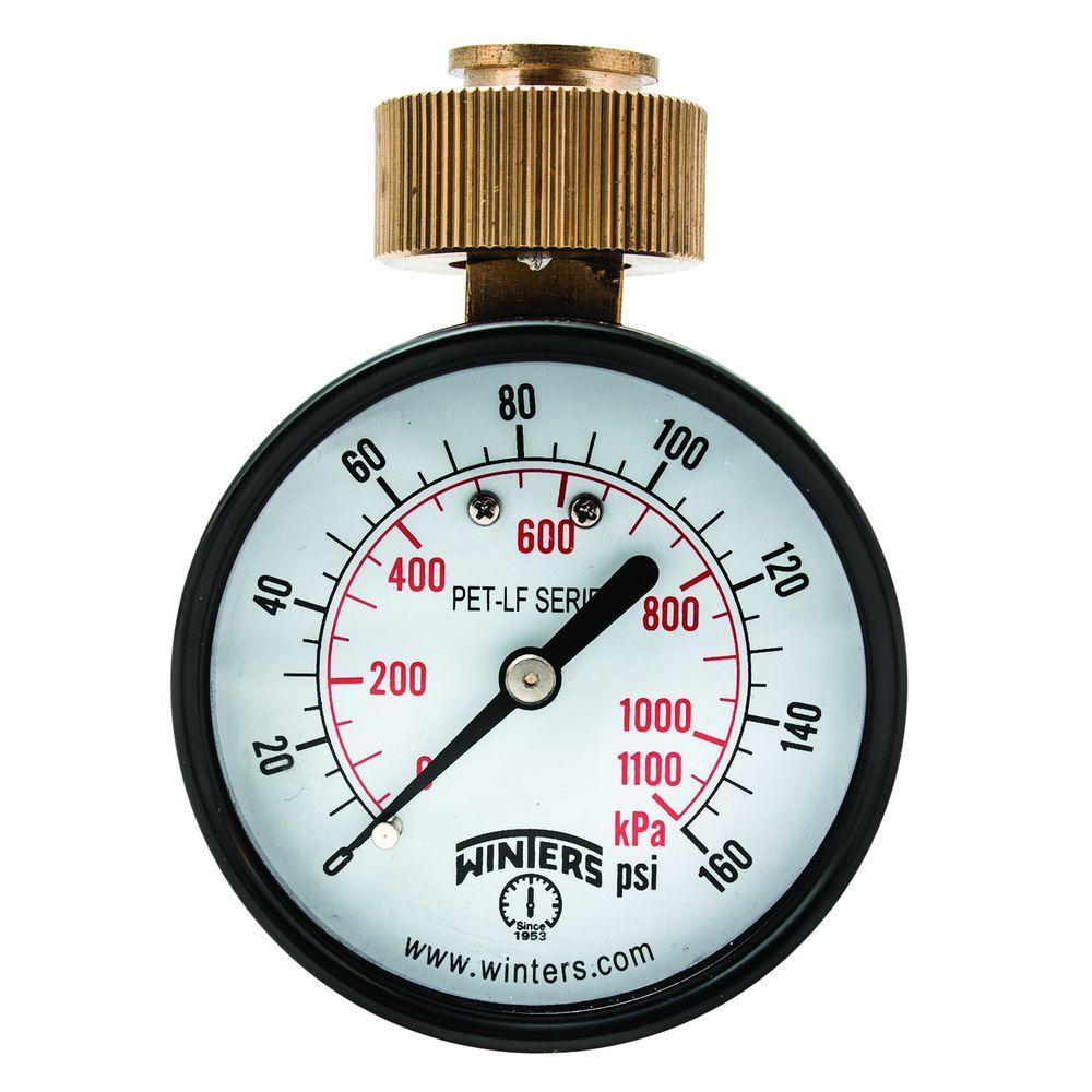 Winters Instruments PET-LF 2.5 in. Lead-Free Brass Water Pressure Test Gaugewith 3/4 in. Swivel Hose and 0-160 psi/kPa