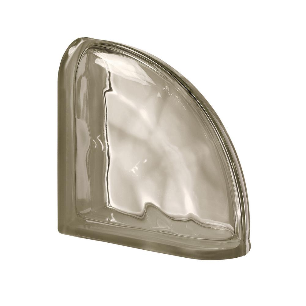 Seves Pegasus Siena 7.48 in. x 7.48 in. x 3.15 in. Wavy Pattern End Curved Glass Block