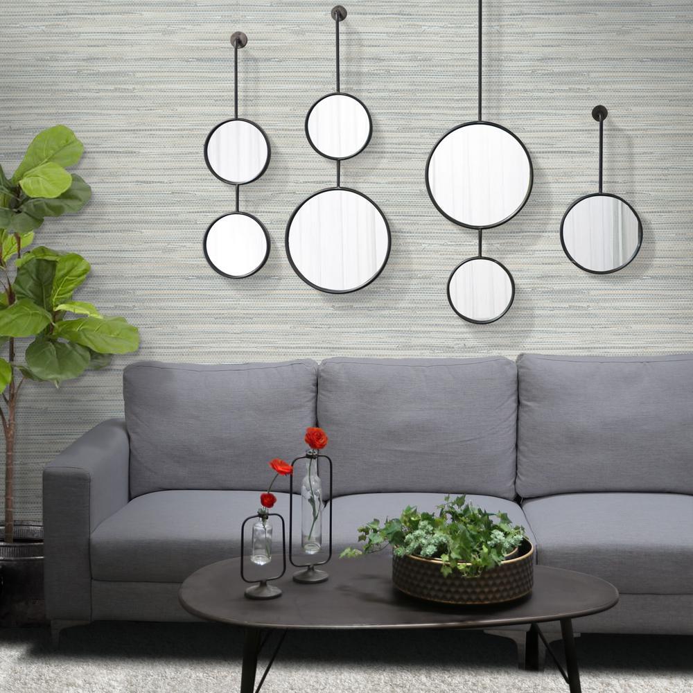 Round Gray Coated Wall Mirror