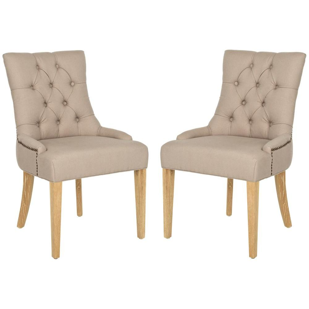 SAFAVIEH Safavieh Abby Taupe/Pickled Oak Linen Side Chair (Set of 2)