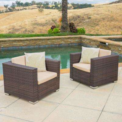Florence Brown Stationary Wicker Outdoor Lounge Chair with Sunbrella Beige Cushion (2-Pack))