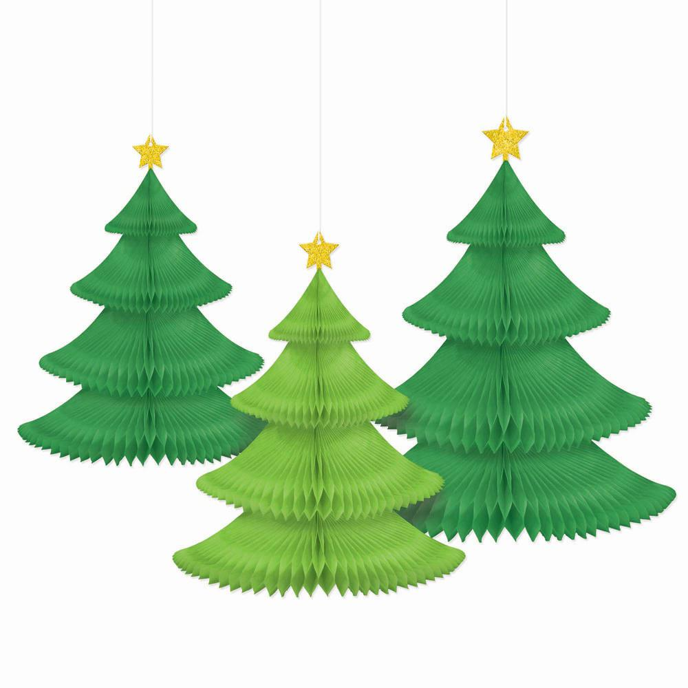 Oh Christmas Tree.Amscan 14 In Tree Honeycomb Decorations 3 Count 2 Pack