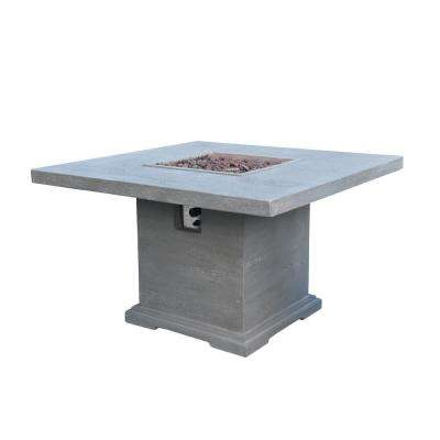 Birmingham 48 in. x 30 in. Square Concrete Propane Fire Pit Dining Table in Light Gray with Travertine