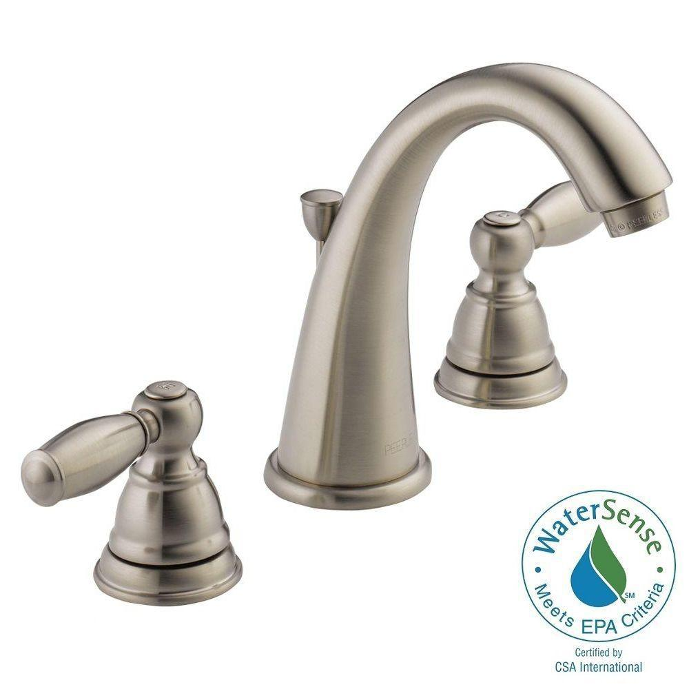 Peerless apex 8 in widespread 2 handle bathroom faucet in for 8 bathroom faucet in brushed nickel