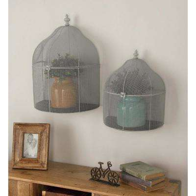 Dome-Shaped White Iron Mesh Bird Cages (Set of 2)