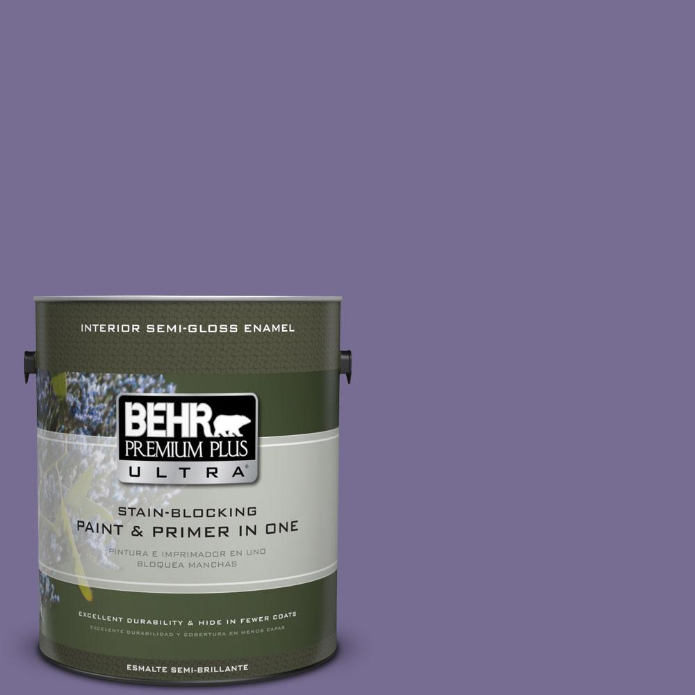 1-gal. #650D-6 Purple Silhouette Semi-Gloss Enamel Interior Paint