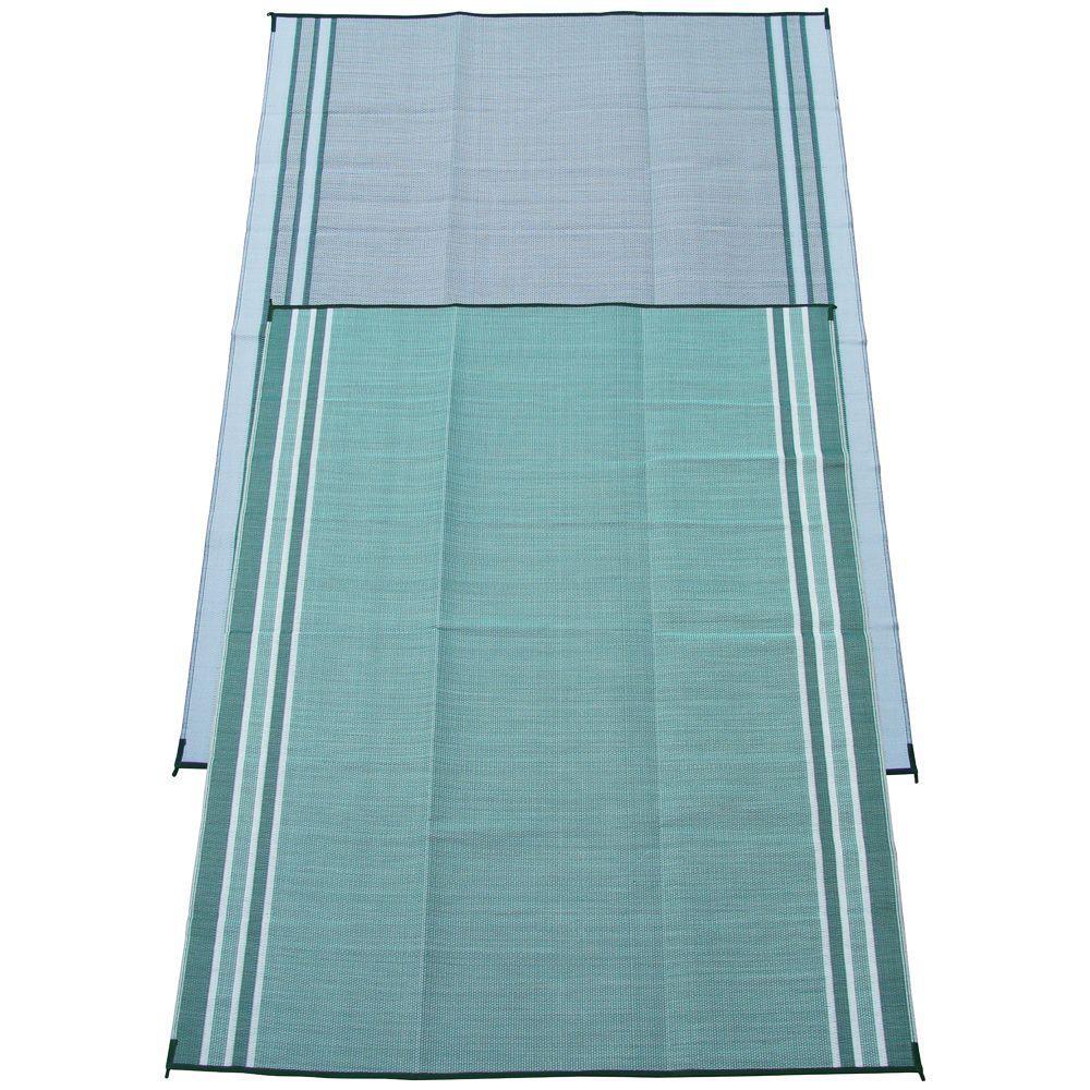 Mossy Teal Green 9 ft. x 12 ft. Polypropylene Indoor/Outdoor Reversible Patio/RV Mat