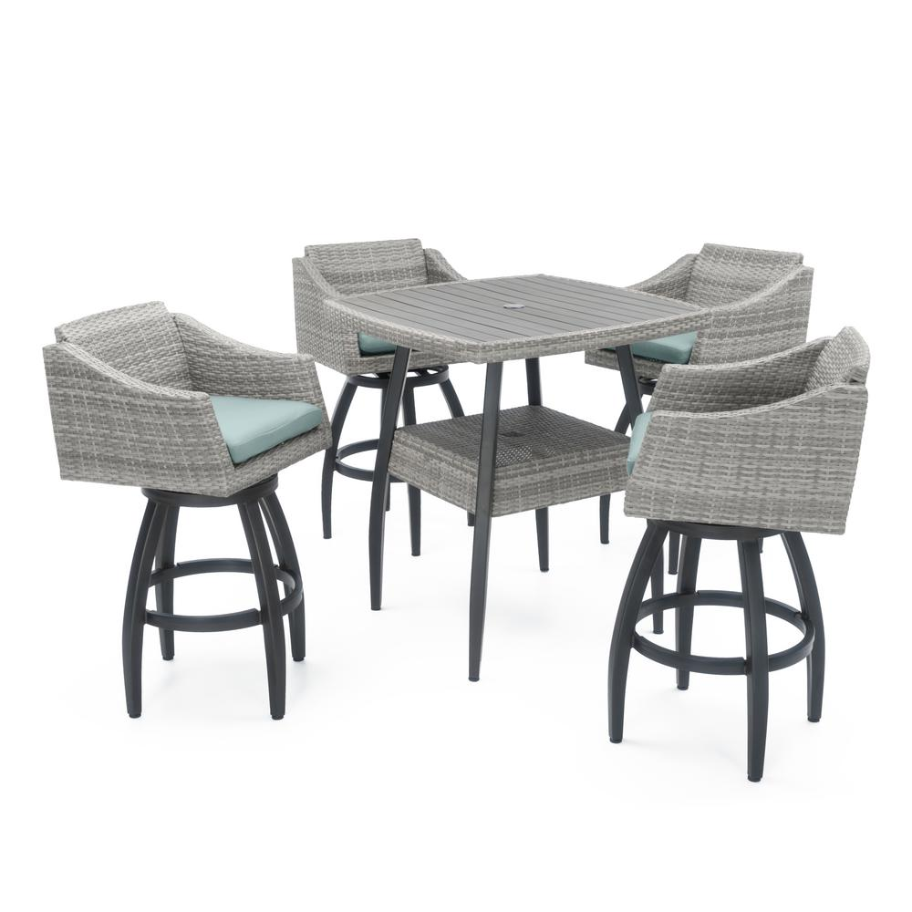 RST Brands Cannes 5-Piece Wicker Outdoor Bar Height Dining Set with Bliss Blue Cushions