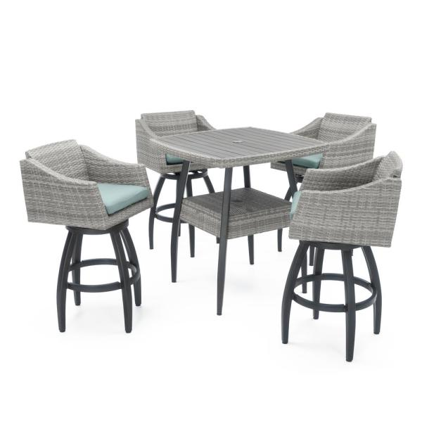 Cannes 5-Piece Wicker Outdoor Bar Height Dining Set with Bliss Blue Cushions