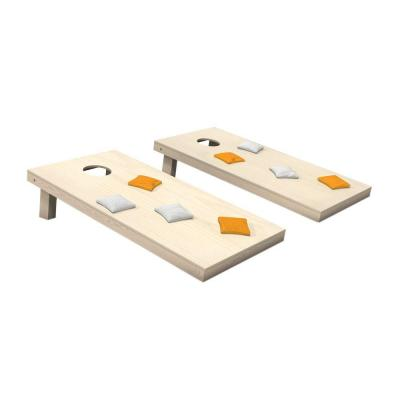 Wooden Cornhole Toss Game Set with Yellow Gold and White Bags
