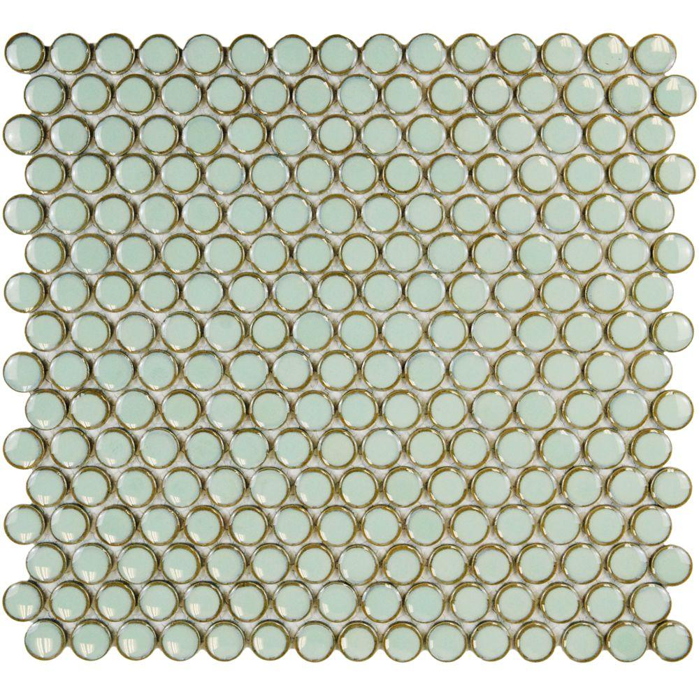 Merola Tile Hudson Penny Round Light Green 12 In X 5 8 Mm Porcelain Mosaic 10 2 Sq Ft Case Fkompr13 The Home Depot
