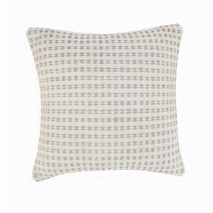 Interwoven Ivory / Tan Striped Soft Poly-Fill 20 in. x 20 in. Throw Pillow