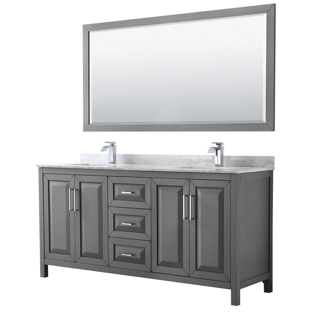 Wyndham Collection Daria 72 In Double Bathroom Vanity Dark Gray With Marble Top