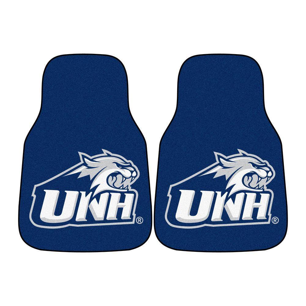 NCAA University of New Hampshire Heavy Duty 2-Piece 18 in. x 27 in. Nylon Carpet Car Mat