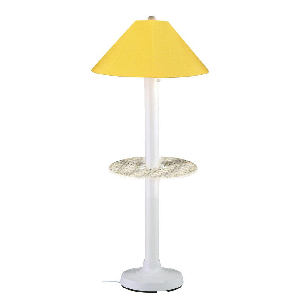 Patio Living Concepts Catalina 63.5 in. White Outdoor Floor Lamp with Tray Table and Buttercup Shade