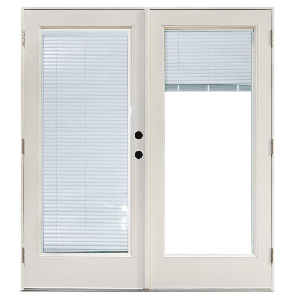 Mp doors 60 in x 80 in fiberglass smooth white left hand for Home depot screens for french doors