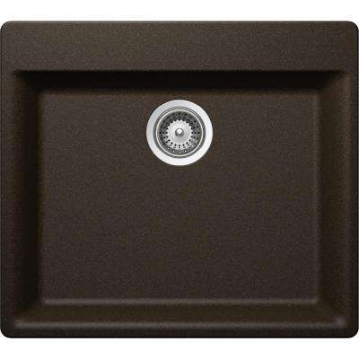 Quartz Luxe Drop-In/Undermount Composite 24 in. Single Bowl Kitchen Sink in Chestnut