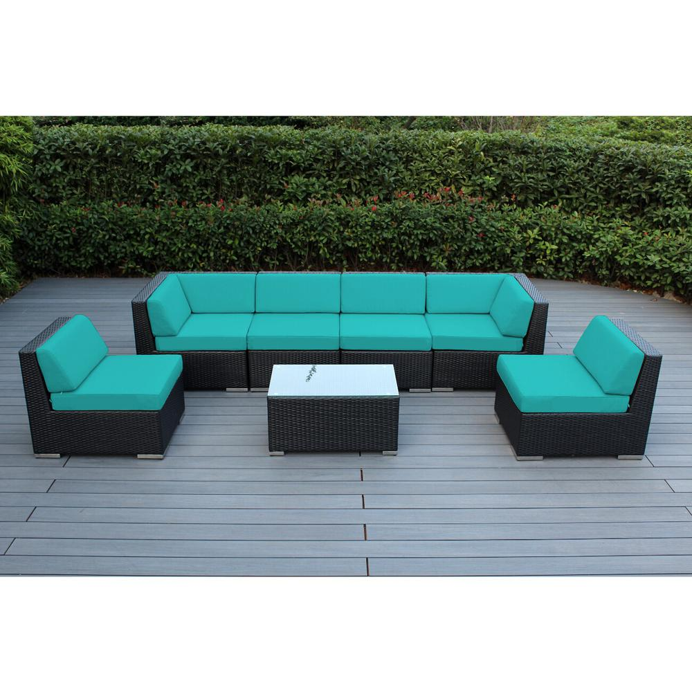 Ohana depot ohana black 7 piece wicker patio seating set with sunbrella aruba cushions