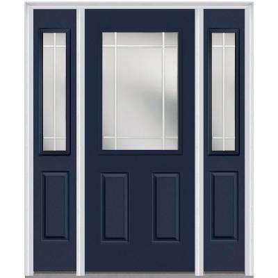 60 in. x 80 in. Internal Grilles Right-Hand 1/2-Lite Clear Painted Fiberglass Smooth Prehung Front Door with Sidelites