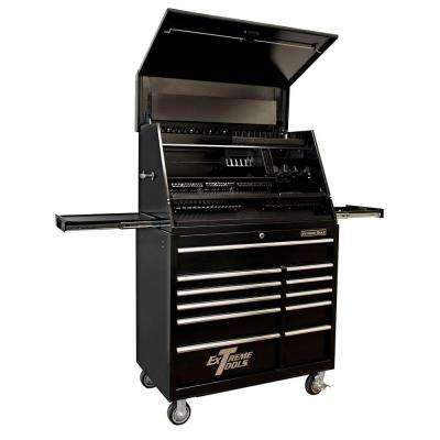 41 in. Deluxe Portable Workstation 11-Drawer Tool Chest and Cabinet Combo in Black