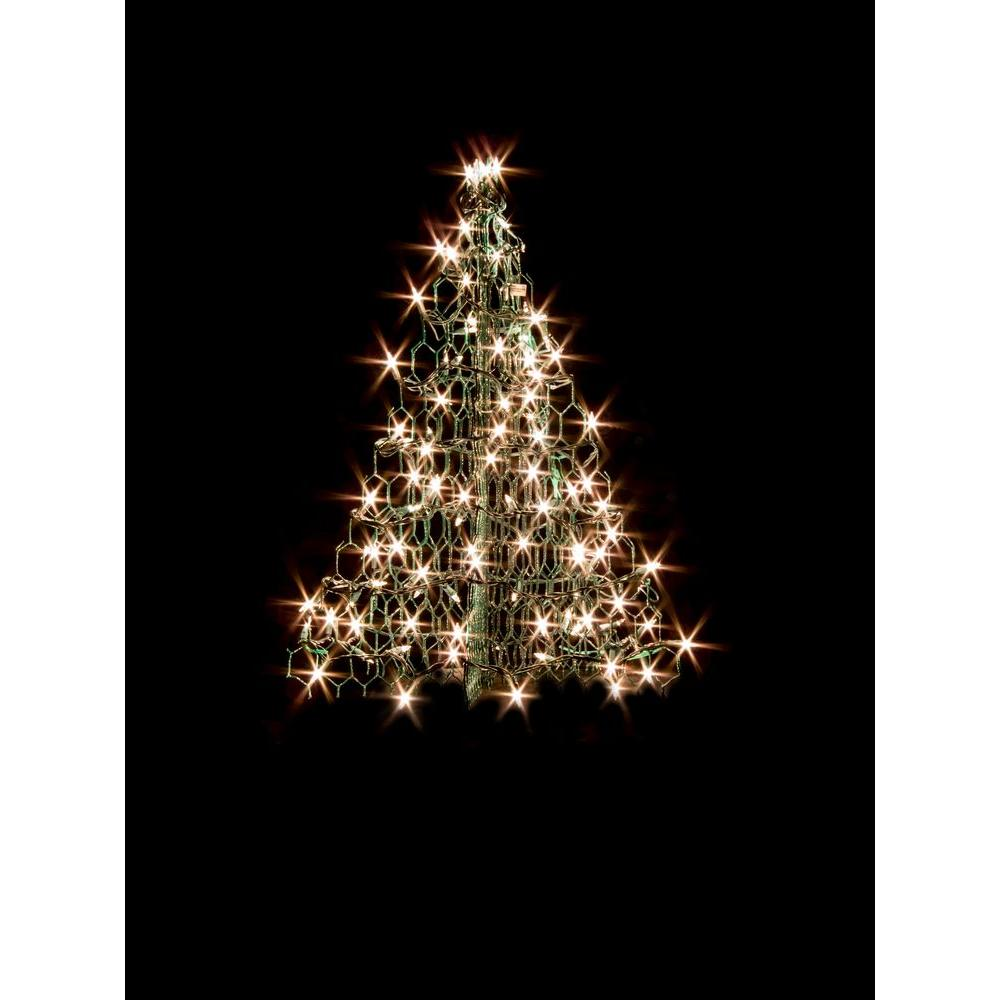 2 ft. Indoor/Outdoor Pre-Lit Incandescent Artificial Christmas Tree with Green Frame and 100 Clear Lights