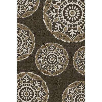 Coastal Medallion Brown 5 ft. 3 in. x 7 ft. 5 in. Indoor/Outdoor Area Rug