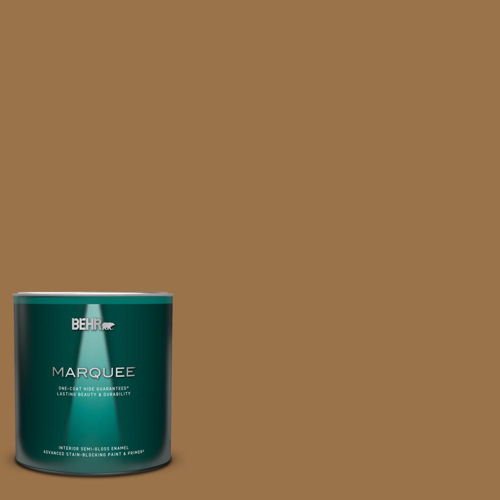Behr Marquee 1 Qt Ppu4 17 Olympic Bronze Semi Gloss Enamel Interior Paint And Primer In One 345304 The Home Depot