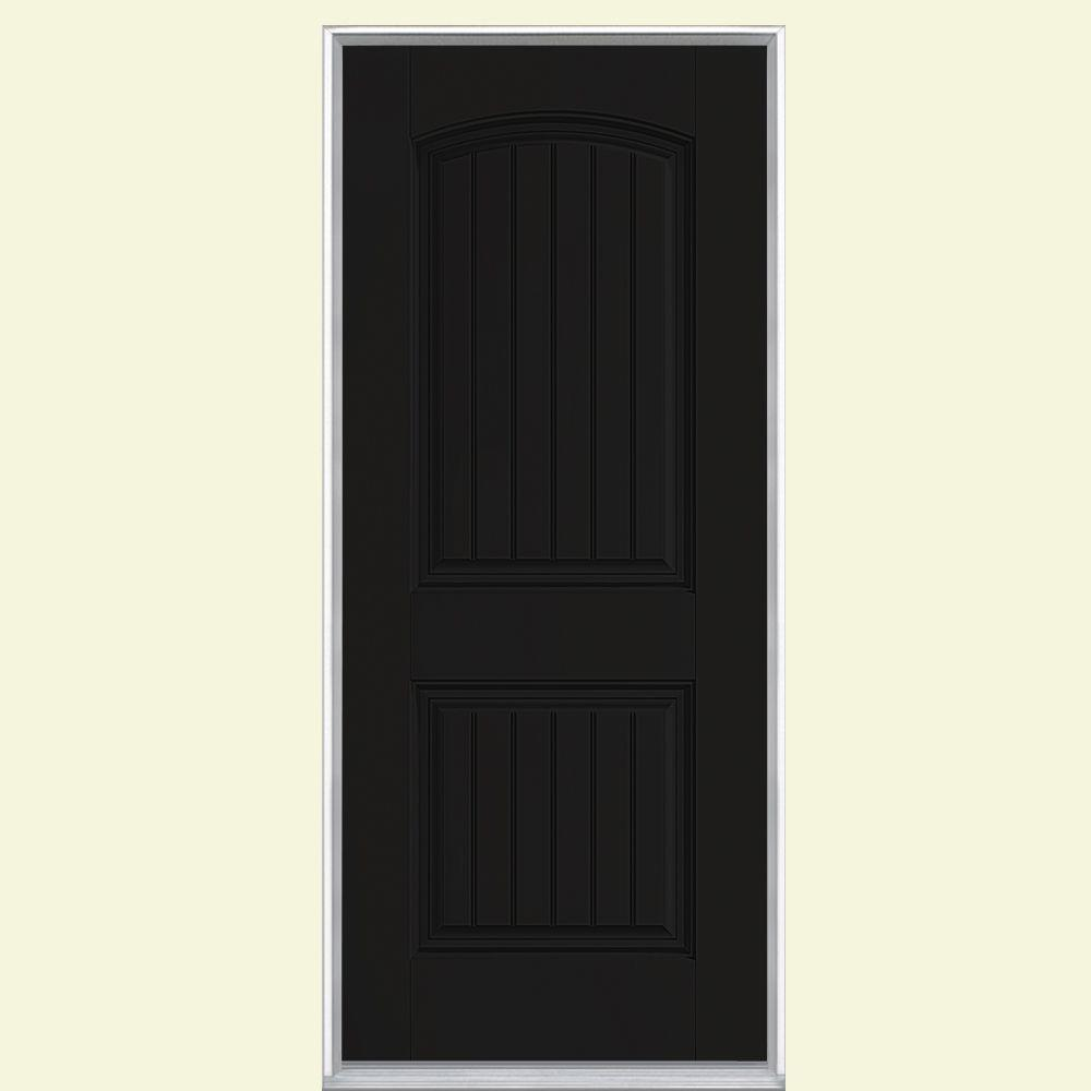 Masonite 36 in. x 80 in. Cheyenne 2-Panel Left Hand Inswing Painted Smooth Fiberglass Prehung Front Door No Brickmold