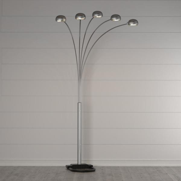 Ore International 84 In 5 Arms Satin Nickel Arch Floor Lamp 6962sn The Home Depot