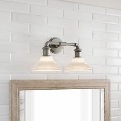 Foxcroft 2-Light Antique Nickel Vanity Light with Clear Prismatic Glass Shades