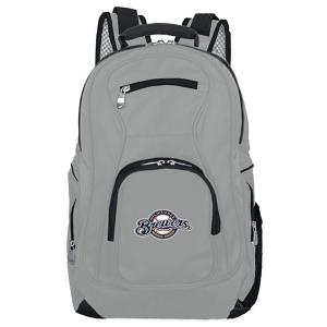 MLB Milwaukee Brewers 19 in. Gray Laptop Backpack