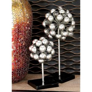 Round Iron Metal Ball Burst Sculptures with Stand (Set of 3) by