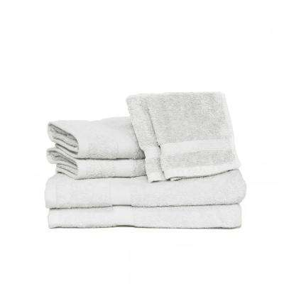 Deluxe 6-Piece Cotton Terry Bath Towel Set in White