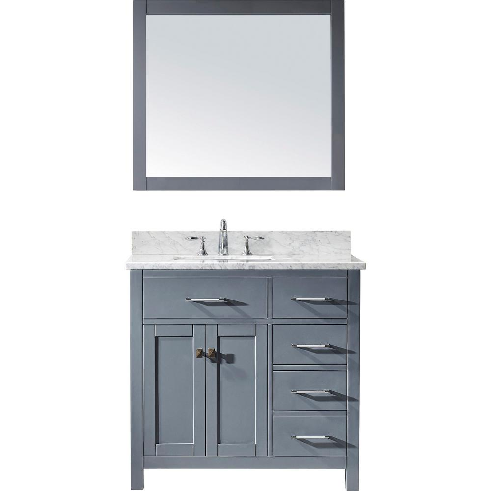 Virtu USA Caroline Parkway 36 in. W Bath Vanity in Gray with Marble Vanity Top in White with Square Basin and Mirror