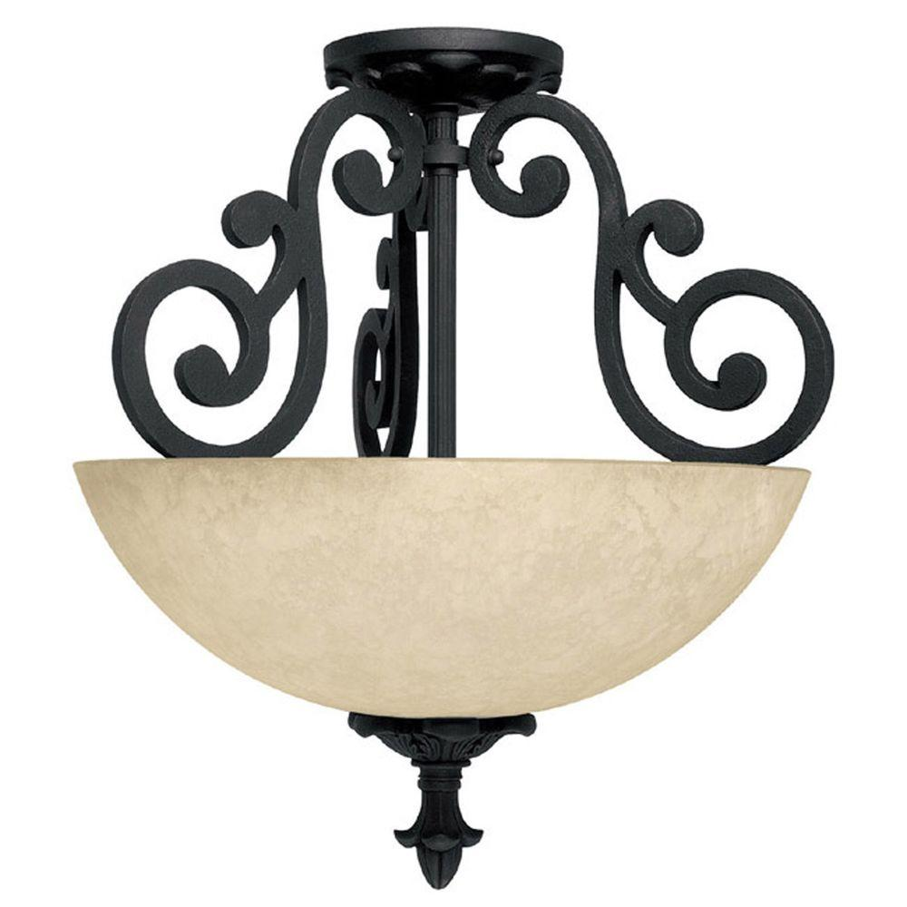 Filament Design 2-Light Wrought Iron Semi Flush Mount with Rust Scavo Glass-DISCONTINUED