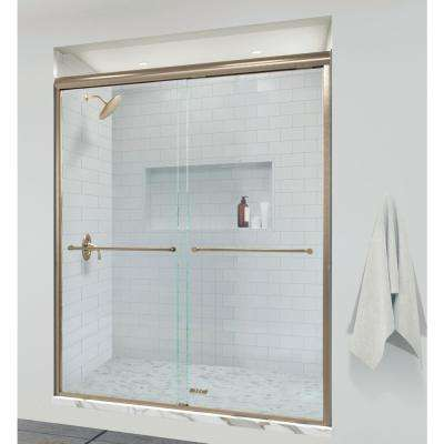 Infinity 58-1/2 in. x 70 in. Semi-Frameless Sliding Shower Door in Brushed Gold with AquaGlideXP Clear Glass
