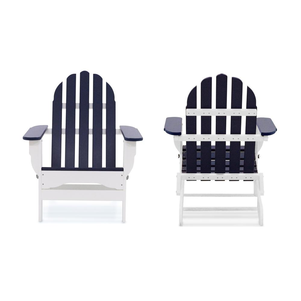 Icon White and Navy Recycled Plastic Folding Adirondack Chair (2-Pack)
