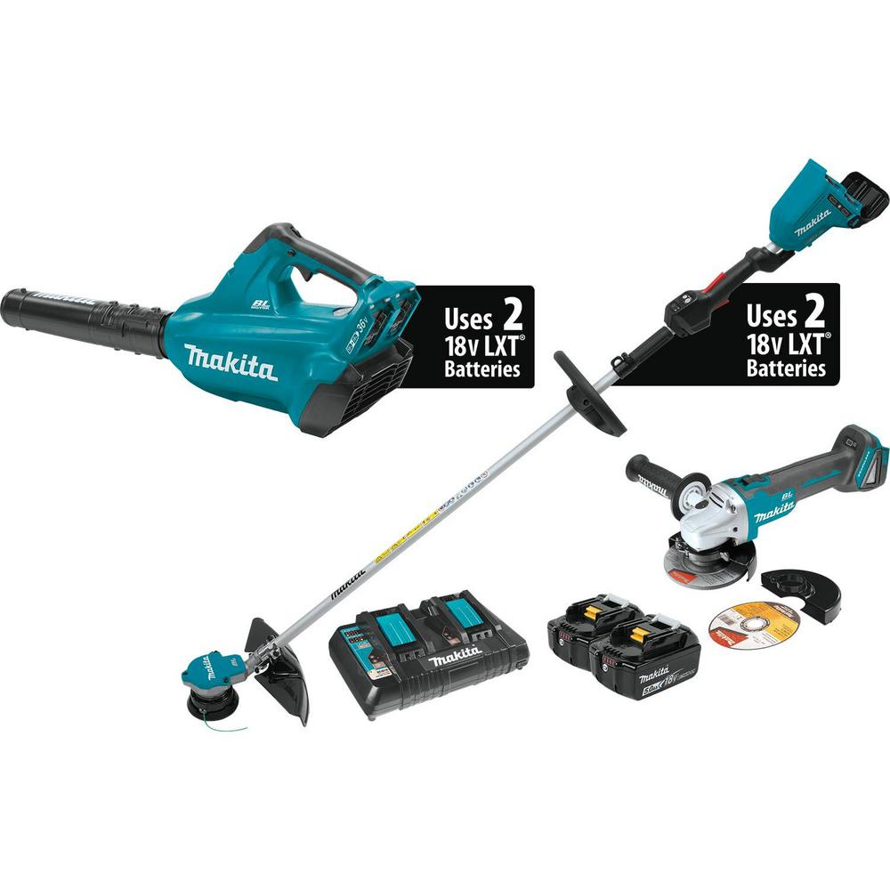 Makita 18-Volt X2 (36V) LXT Li-ion Brushless Cordless 2-Piece Kit (Blower/ String Trimmer) 5.0Ah and Brushless Angle Grinder