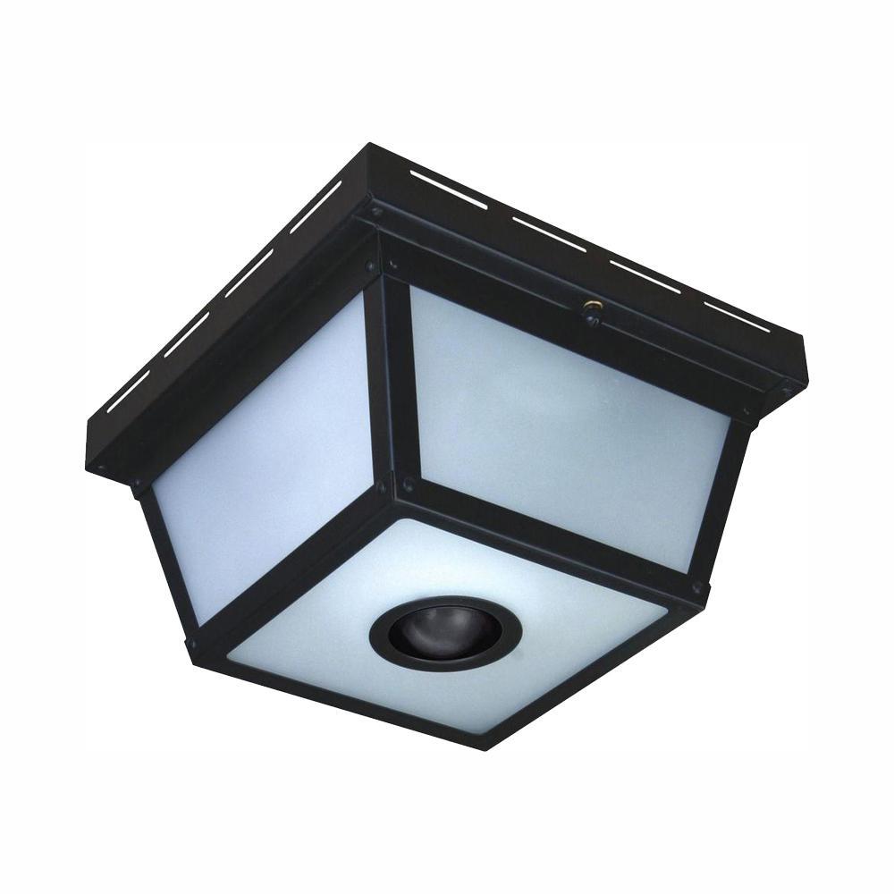 360° Square 4-Light Black Motion Sensing Outdoor Flush Mount