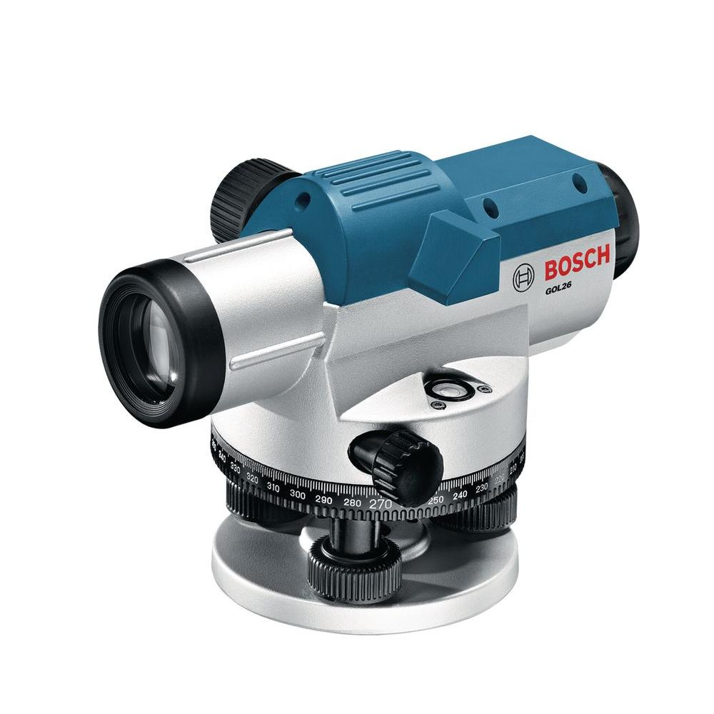 Bosch 8 in. Automatic Optical Level with 26x Magnification Power Lens (3-Piece)