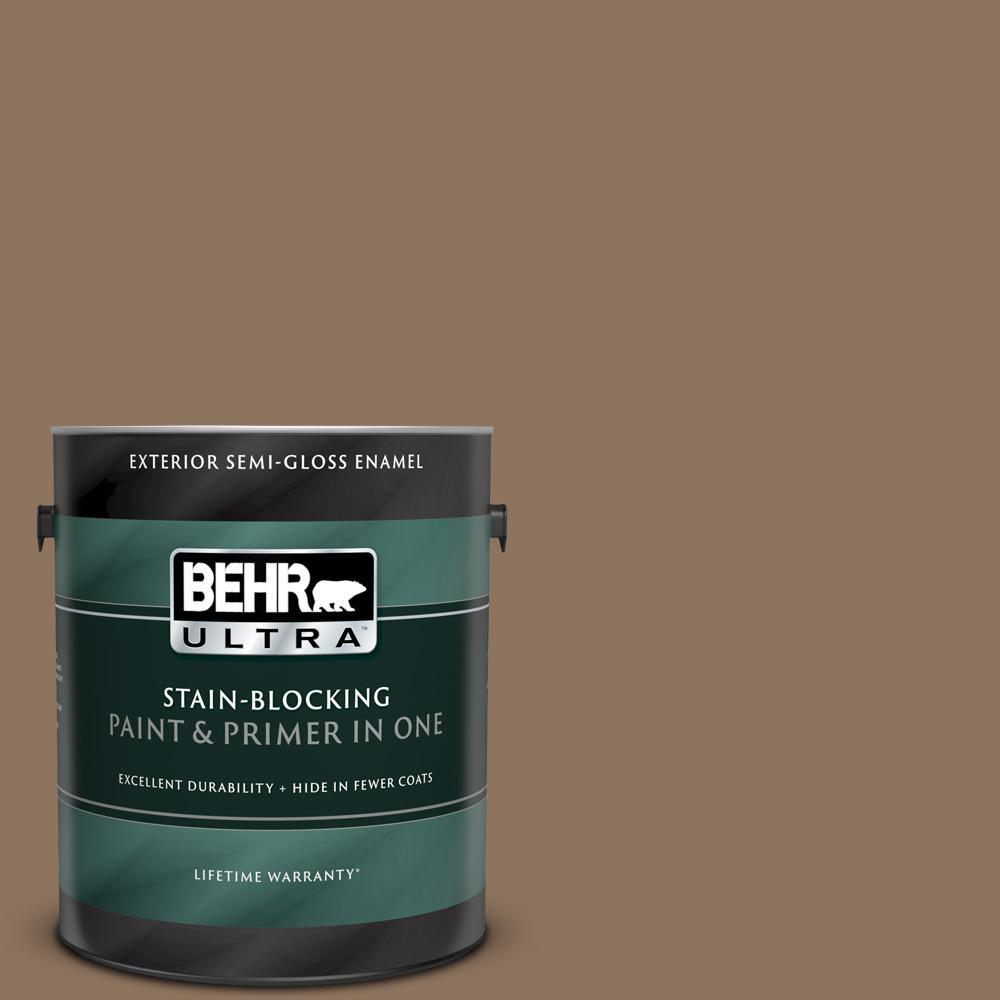 Behr Ultra 1 Gal 700d 6 Belgian Sweet Semi Gloss Enamel Exterior Paint And Primer In One 585301 The Home Depot