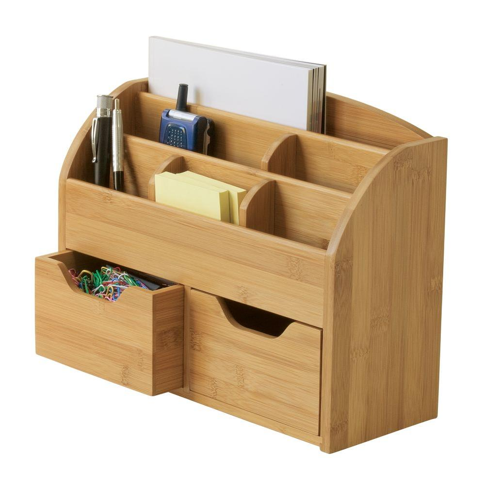Lipper International Bamboo 9 62 In X 12 Space Saving Desk Organizer