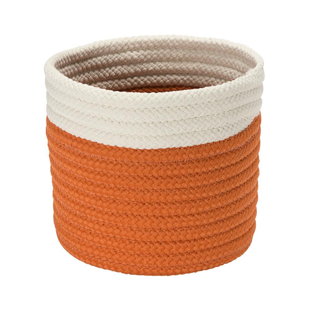 10 in. x 10 in. x 8 in. Orange Dipped Mini Round Polypropylene Basket