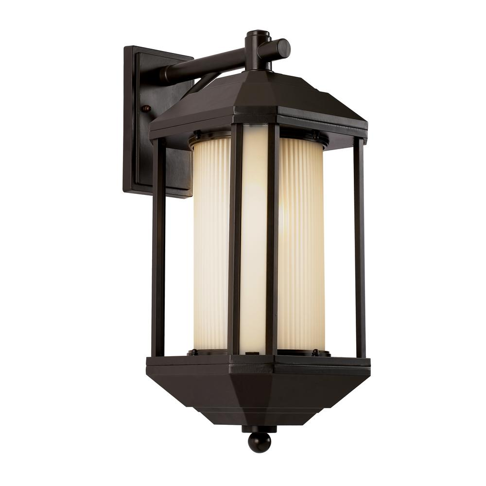 Bel Air Lighting 1-Light Outdoor Rubbed Oil Bronze Wall Lantern With Ribbed Glass